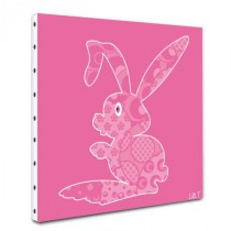 Tableau toile Lapin rose