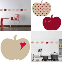 Stickers Home Déco -  Apple Sweet - Beige - Coeur rouge