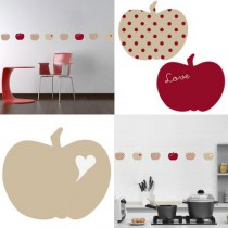 Stickers Home Déco -  Apple Sweet - Beige - Coeur blanc