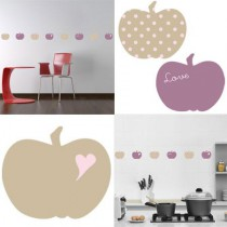 Stickers Home Déco - Apple Sweet - Beige - Coeur rose