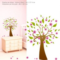 Stickers illustration -  Arbre Fleurs Roses