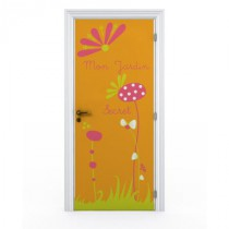 Stickers porte - Mon Jardin Secret - Fond Orange