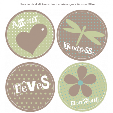 Stickers Sweet Graphique -  Tendres Messages - Marron Olive