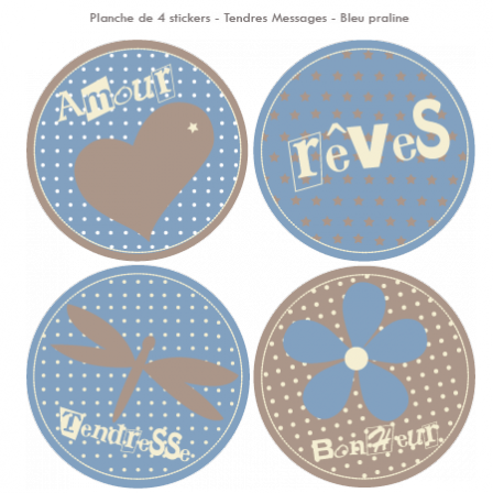 Stickers Sweet Graphique - Tendres Messages - Bleu praline