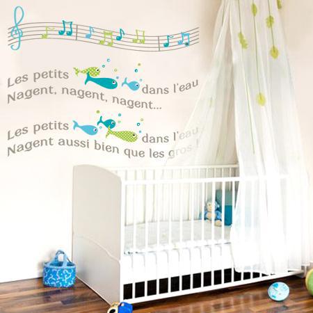 stickers chanson poissons dans l eau stickers malin. Black Bedroom Furniture Sets. Home Design Ideas