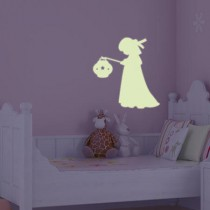 Stickers PHOSPHORESCENT Fillette au lampion