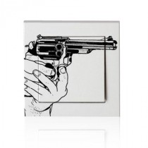 stickers interrupteur dessin pistolet en main