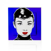 stickers interrupteur pop art Audrey sur fond bleu