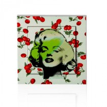 stickers interrupteur pop art Marilyn sur motif cerises