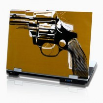 stickers PC horizontal pop art revolver sur fond marron
