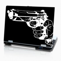 stickers PC horizontal dessin pistolet en main en negatif