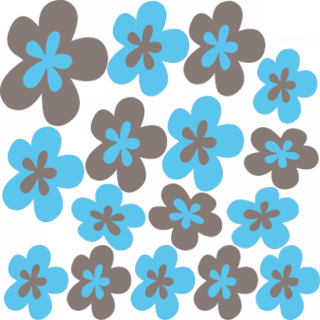 Stickers Fleurs design bleu marron