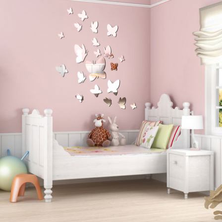 stickers 21 papillons effet miroir stickers malin. Black Bedroom Furniture Sets. Home Design Ideas