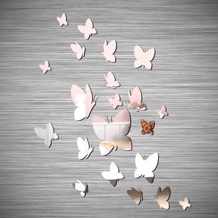 Stickers 21 papillons effet miroir stickers malin - Stickers muraux effet miroir ...
