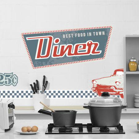 Stickers kit d co us diner 10 stickers frise stickers - Deco retro americaine ...