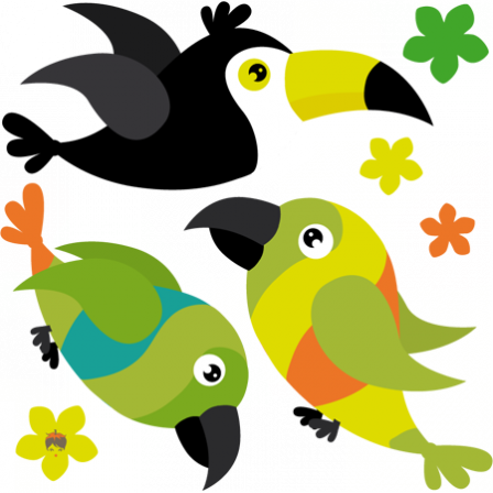 Stickers Animaux Jungle Perroquet Toucan