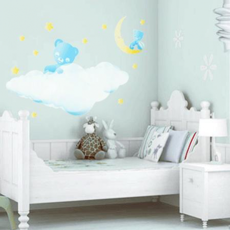 Stickers ourson chambre b b stickers malin - Stickers repositionnables chambre bebe ...