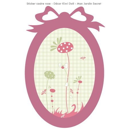 stickers cadre d cor kiwi doll mon jardin secret cadre rose stickers malin. Black Bedroom Furniture Sets. Home Design Ideas