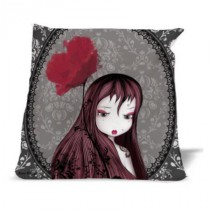 Coussin Coquelicot - Fond gris