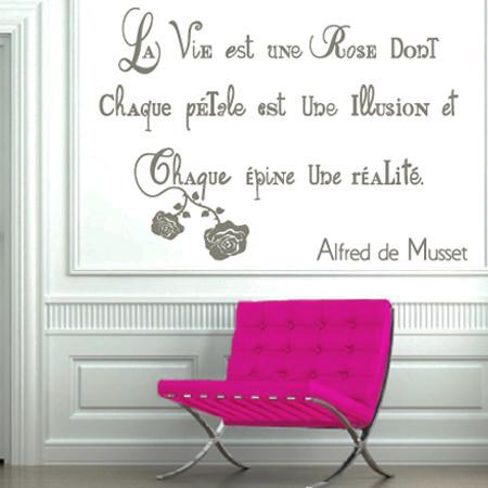 stickers citation la vie stickers malin. Black Bedroom Furniture Sets. Home Design Ideas