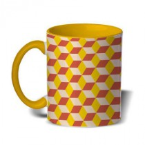 Mug color jaune losanges jaunes et oranges