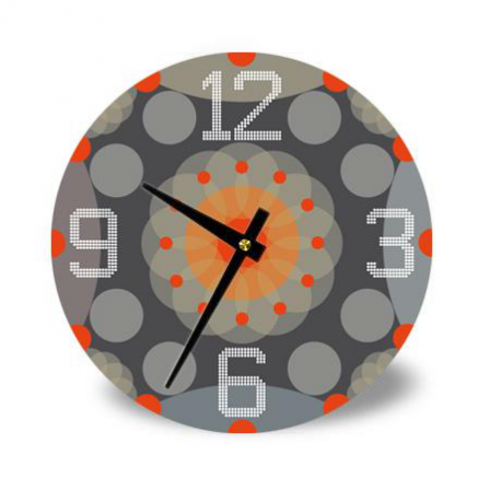 Horloge grise et orange stickers malin for Horloge grise