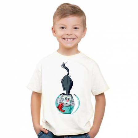 Tee-shirt enfant chat aqua