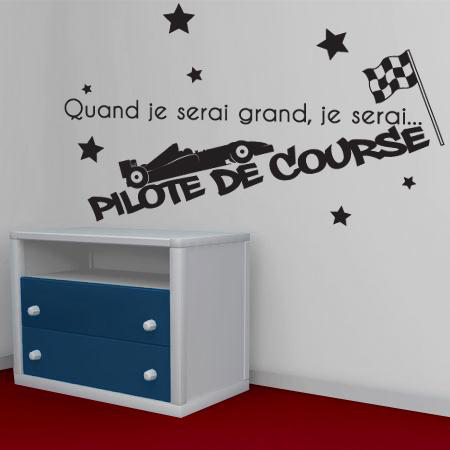 stickers je serai pilote de course stickers malin. Black Bedroom Furniture Sets. Home Design Ideas