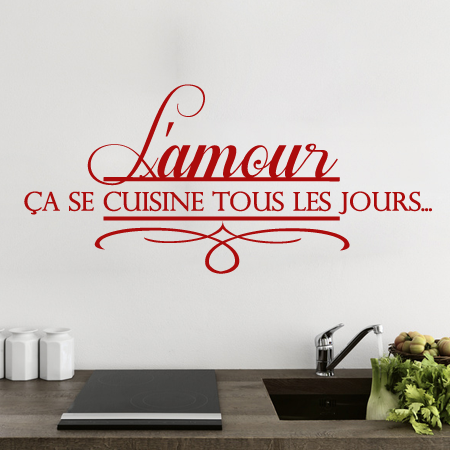 stickers amour en cuisine stickers malin. Black Bedroom Furniture Sets. Home Design Ideas
