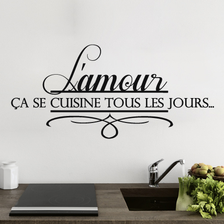 stickers l 39 amour en cuisine stickers malin. Black Bedroom Furniture Sets. Home Design Ideas