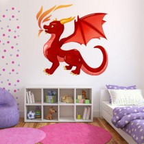 Stickers dragon rouge avec flammes