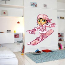 Stickers Pink snowboarding girl
