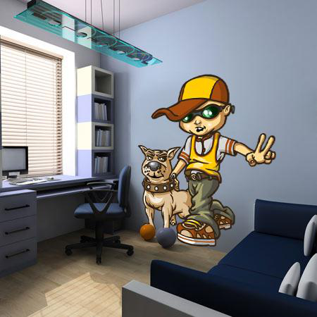 Stickers b boy and dog stickers malin for Pochoir chambre garcon