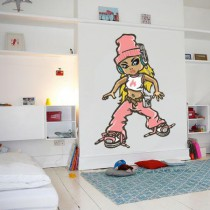 Stickers Hip hop girl in pink