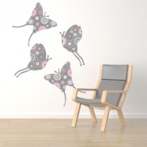 Stickers Papillons Gris