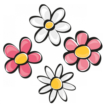 stickers fleurs blanches et roses