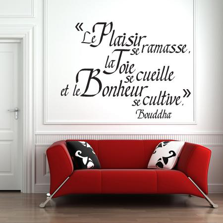 stickers citation bonheur de bouddha stickers malin. Black Bedroom Furniture Sets. Home Design Ideas