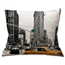 Coussin New York - Flatiron Building et Taxi