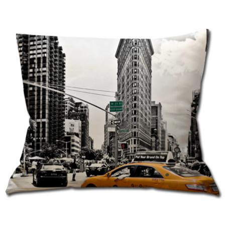 coussin new york flatiron building et taxi stickers malin. Black Bedroom Furniture Sets. Home Design Ideas