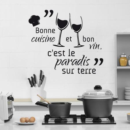 Stickers bonne cuisine et bon vin stickers malin - Stickers citations cuisine ...