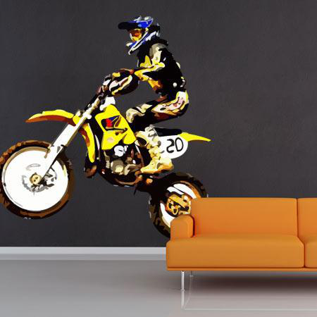 stickers motocross jaune stickers malin. Black Bedroom Furniture Sets. Home Design Ideas