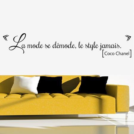 stickers citation la mode stickers malin. Black Bedroom Furniture Sets. Home Design Ideas