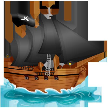 Stickers bateau pirate aux voiles noires stickers malin - Dessin bateau enfant ...