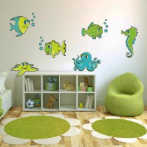 Stickers Banc de poissons rigolos