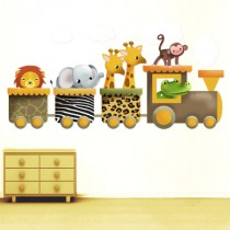 Stickers Train aux animaux de la jungle