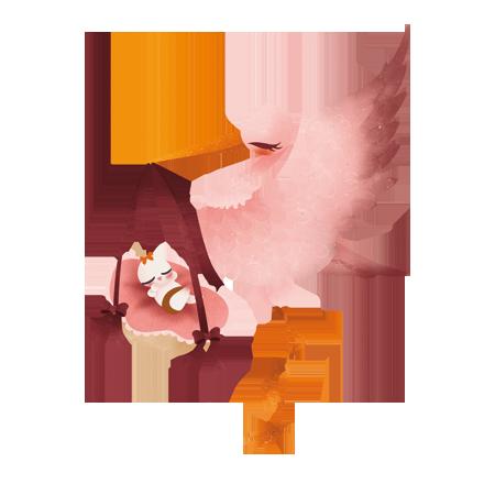 Cigogne Et Bébé stickers la cigogne - rose - stickers malin
