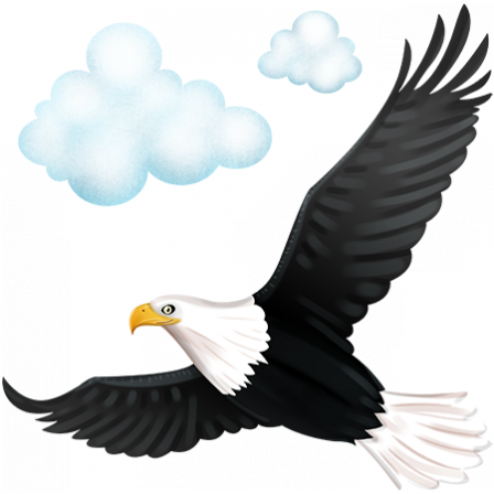 Stickers aigle royal avec nuages stickers malin - Aigle royal dessin ...