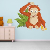 Stickers FAMILLE SINGE Orang outan