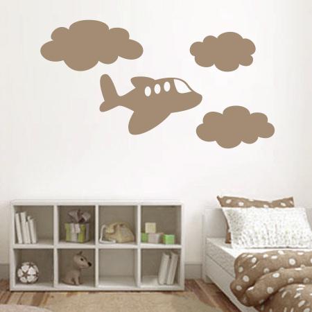 Stickers avion et nuages