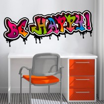 Stickers Graffiti Be Happy couleurs